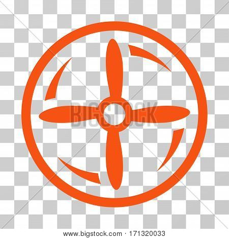 Drone Screw Rotation icon. Vector illustration style is flat iconic symbol orange color transparent background. Designed for web and software interfaces.