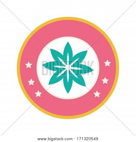 colorful circular border with star shape silhouette figure flower icon floral vector illustration