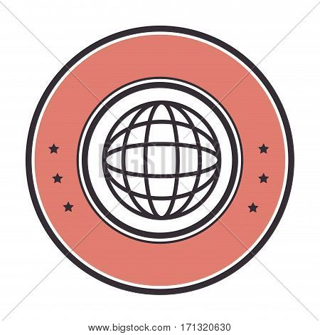 colorful circular border with blue sphere with meridians and mesh vector illustration poster