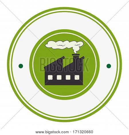 colorful circular border with factory and smoke contamination vector illustration