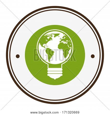 colorful circular border with liht bulb with eart world shape vector illustration
