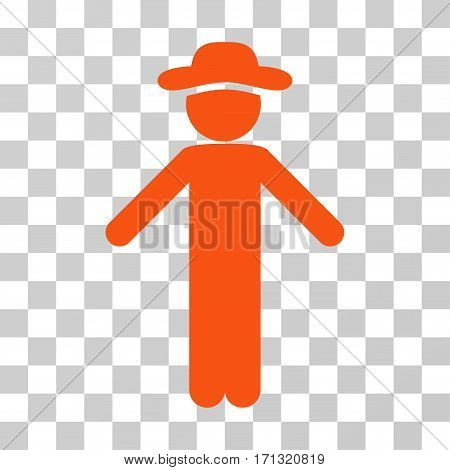Gentleman Apology icon. Vector illustration style is flat iconic symbol orange color transparent background. Designed for web and software interfaces.