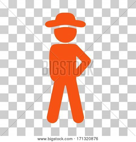 Gentleman Audacity icon. Vector illustration style is flat iconic symbol orange color transparent background. Designed for web and software interfaces.