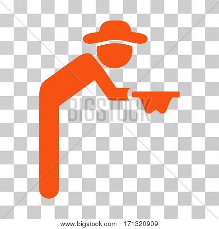 Gentleman Beggar icon. Vector illustration style is flat iconic symbol orange color transparent background. Designed for web and software interfaces.