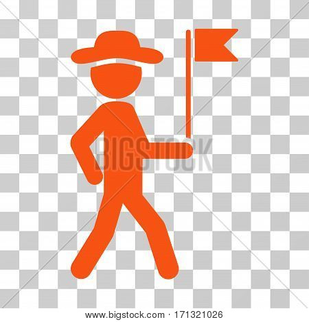 Gentleman Flag Guide icon. Vector illustration style is flat iconic symbol orange color transparent background. Designed for web and software interfaces.