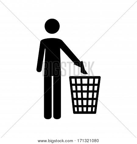 pictogram person throwing trash in basket vector illustration