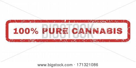100 Percent Pure Cannabis text rubber seal stamp watermark. Tag inside rectangular banner with grunge design and unclean texture. Horizontal vector red ink sticker on a white background.