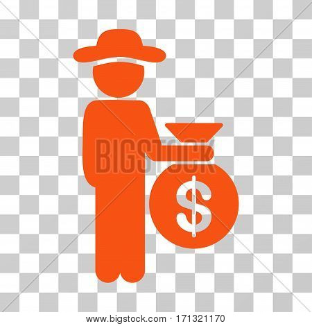 Gentleman Investor icon. Vector illustration style is flat iconic symbol orange color transparent background. Designed for web and software interfaces.