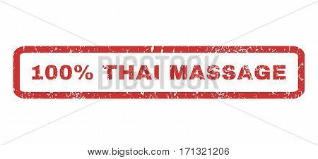 100 Percent Thai Massage text rubber seal stamp watermark. Caption inside rectangular shape with grunge design and dirty texture. Horizontal vector red ink emblem on a white background.