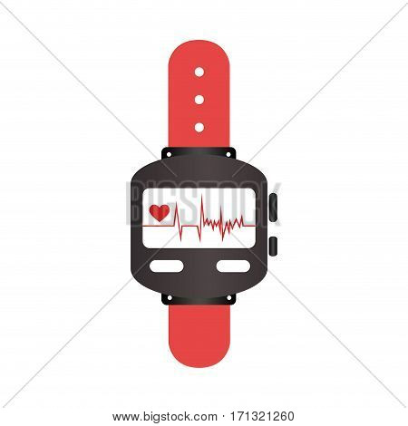 colorful watch with screen Heartbeat monitoring vector illustration