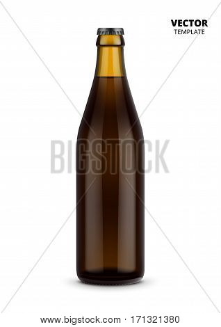 Beer bottle glass mockup vector isolated on white background. Bottle for design presentation ads. Beer glass bottle template. Design of vector beer bottle. Original form bottle for design beer packaging or label.