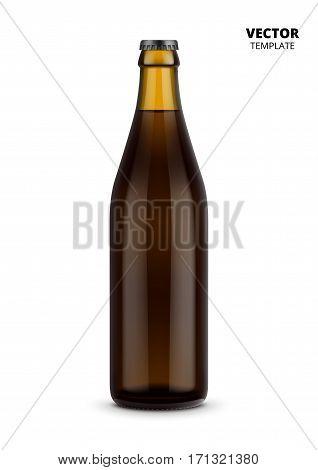 Beer bottle glass mockup vector isolated on white background. Bottle for design presentation ads. Beer glass bottle template. Design of vector beer bottle. Original form bottle for design beer packaging or label.