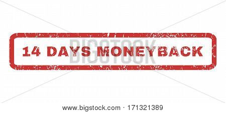 14 Days Moneyback text rubber seal stamp watermark. Caption inside rectangular banner with grunge design and scratched texture. Horizontal vector red ink emblem on a white background.