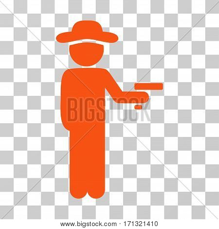 Gentleman Robber icon. Vector illustration style is flat iconic symbol orange color transparent background. Designed for web and software interfaces.
