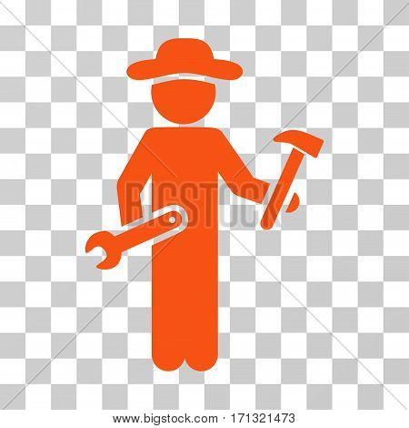 Gentleman Serviceman icon. Vector illustration style is flat iconic symbol orange color transparent background. Designed for web and software interfaces.