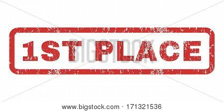 1st Place text rubber seal stamp watermark. Tag inside rectangular banner with grunge design and unclean texture. Horizontal vector red ink sign on a white background.