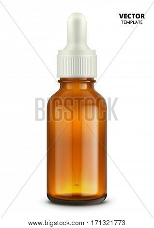 Medical bottle isolated on white background. Glass bottle vector mockup for design presentation ads.