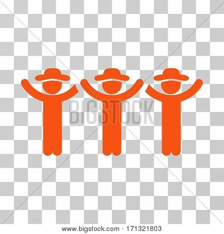 Gentlemen Hands Up Roundelay icon. Vector illustration style is flat iconic symbol orange color transparent background. Designed for web and software interfaces.
