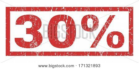 30 Percent text rubber seal stamp watermark. Caption inside rectangular banner with grunge design and dirty texture. Horizontal vector red ink emblem on a white background.