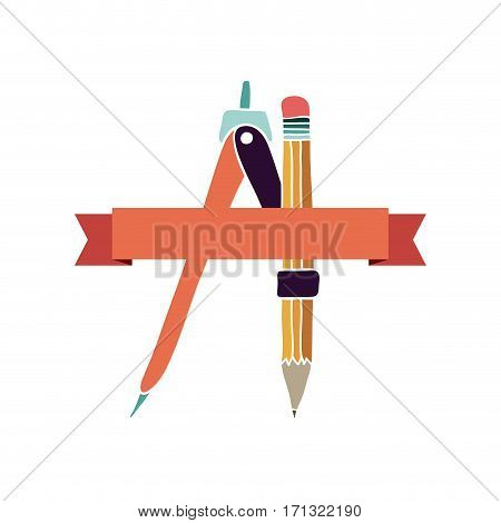 drawing compass icon stock, vector illustration image design