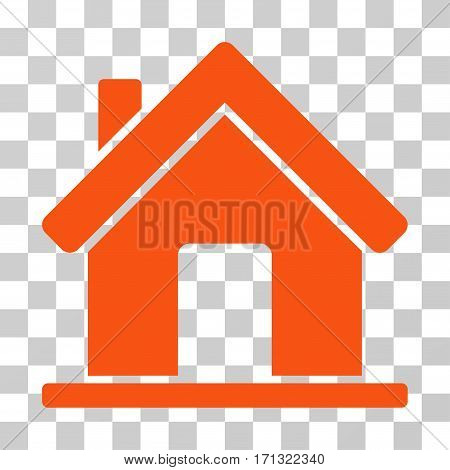 Home icon. Vector illustration style is flat iconic symbol orange color transparent background. Designed for web and software interfaces.