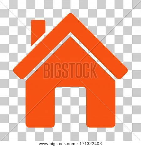 House icon. Vector illustration style is flat iconic symbol orange color transparent background. Designed for web and software interfaces.