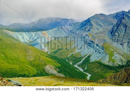 Roerich's landscape, Yarlu valley in Altai mountains, Near Belukha - highest peak of Altai mountains. Russia