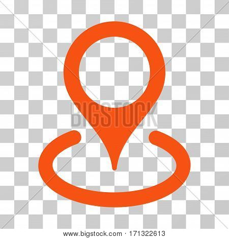 Location icon. Vector illustration style is flat iconic symbol orange color transparent background. Designed for web and software interfaces.