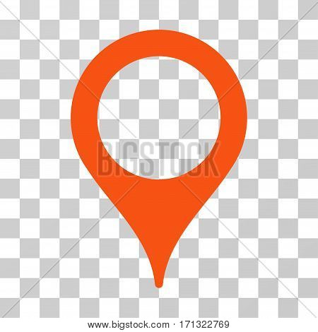 Map Pointer icon. Vector illustration style is flat iconic symbol orange color transparent background. Designed for web and software interfaces.