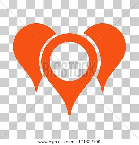 Map Pointers icon. Vector illustration style is flat iconic symbol orange color transparent background. Designed for web and software interfaces.
