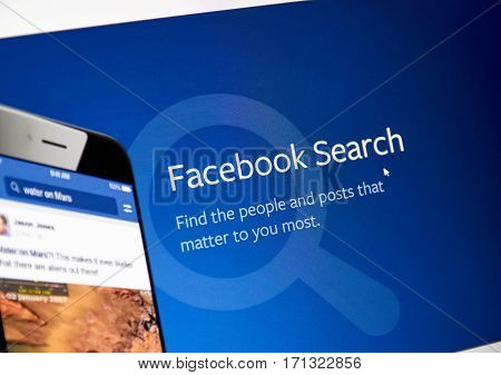 MONTREAL CANADA - FEBRUARY 12 2017 - Facebook search web page. Facebook is a corporation and online social networking service.