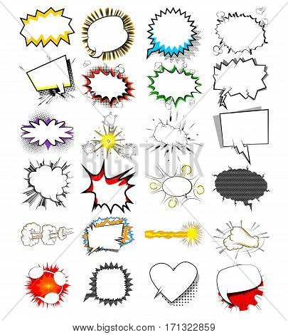 Cartoon set explosion effects and speech bubbles pop art vector style. Comics book background templates.