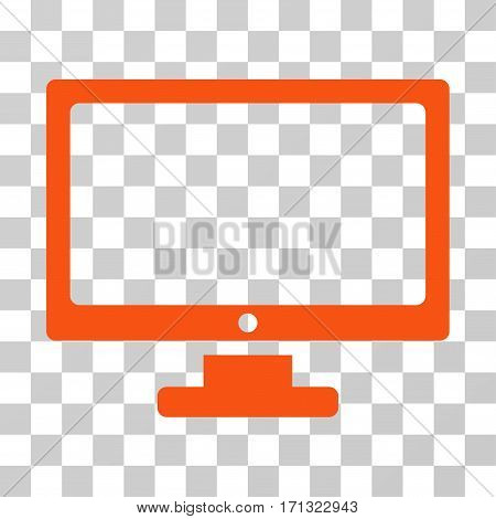 Monitor icon. Vector illustration style is flat iconic symbol orange color transparent background. Designed for web and software interfaces.