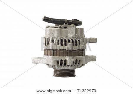 Old alternator for the car isolated on white background with clipping path