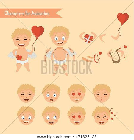 Cupid angels icons set little boy with a bow and arrows. Cupid character animation. Set for Valentine's day