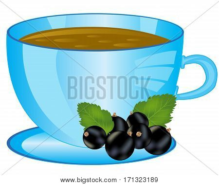 Cup of aromatic tea with berry on white background