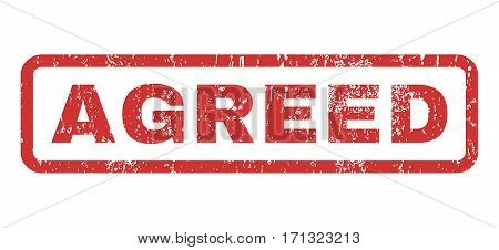 Agreed text rubber seal stamp watermark. Tag inside rectangular banner with grunge design and dirty texture. Horizontal vector red ink sign on a white background.