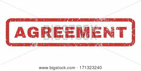 Agreement text rubber seal stamp watermark. Caption inside rectangular shape with grunge design and dust texture. Horizontal vector red ink emblem on a white background.