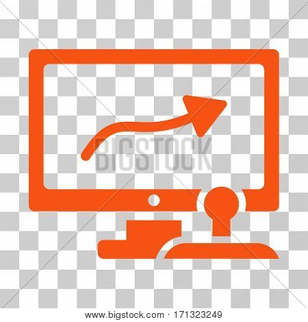 Path Control Monitor icon. Vector illustration style is flat iconic symbol orange color transparent background. Designed for web and software interfaces.