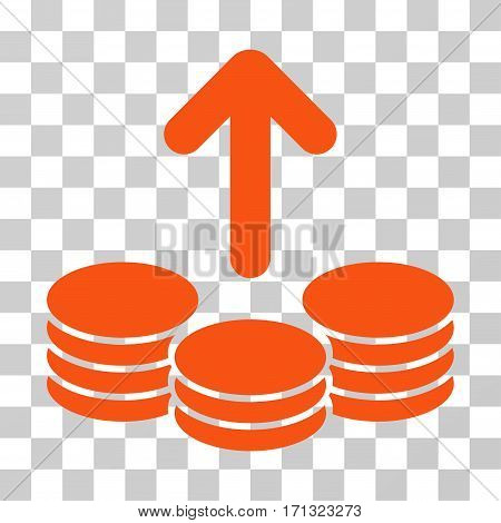 Payout Coins icon. Vector illustration style is flat iconic symbol orange color transparent background. Designed for web and software interfaces.