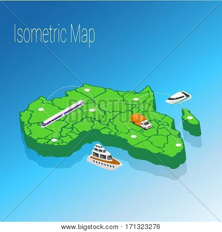 Map Africa isometric concept. 3d flat illustration of Map Africa.