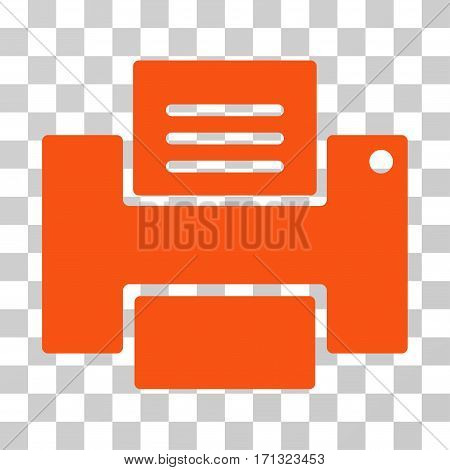 Printer icon. Vector illustration style is flat iconic symbol orange color transparent background. Designed for web and software interfaces.