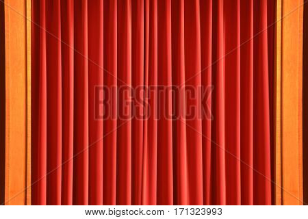 theater curtain red window curtain in wood frame