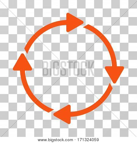 Rotation icon. Vector illustration style is flat iconic symbol orange color transparent background. Designed for web and software interfaces.