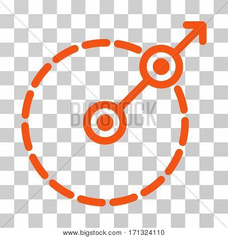 Round Area Exit icon. Vector illustration style is flat iconic symbol orange color transparent background. Designed for web and software interfaces.