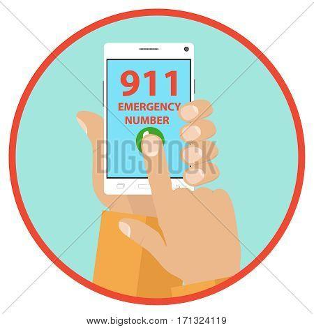 Call an emergency, call 911. Flat design, vector illustration, vector.