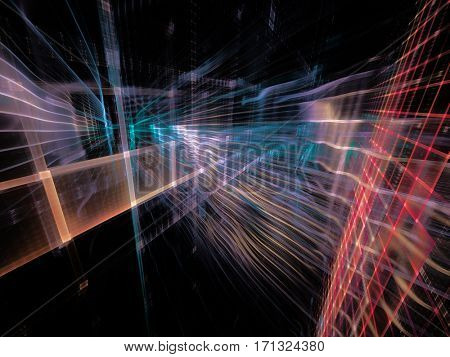 Abstract background element. Three-dimensional composition of wave shapes, grids and beams. Electronics and media concept. Red, blue, orange colors on black.