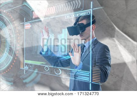 Businessman using virtual reality headset against digitally generated image of volume knob with graphical data