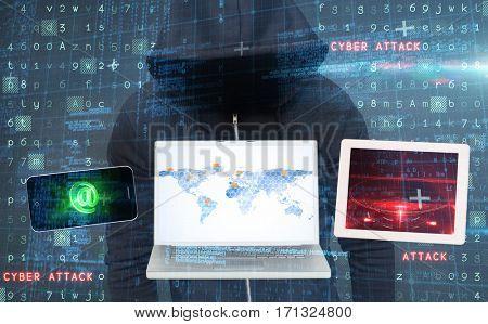 Burglar wearing black hooded jacket against virus background