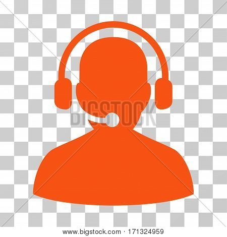 Telemarketing icon. Vector illustration style is flat iconic symbol orange color transparent background. Designed for web and software interfaces.